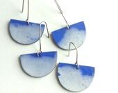 Geometric jewelry, blue earrings, clay earrings, clouds, blue sky earrings