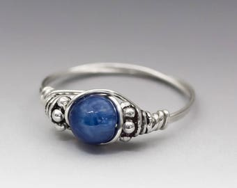 Blue Kyanite Bali Sterling Silver Wire Wrapped Bead Ring - Made to Order, Ships Fast!