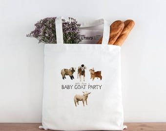 Goat Tote Bag / Canvas Tote Bag / Gifts for Her / Farmhouse Gifts / Gifts for Farmers / Homestead Gifts / Goats Market Bag / Baby Goat Party