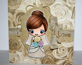 Beautiful handmade wedding or engagement card