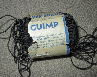 Vintage Black Guimp String 90 Yard Skein Spool from France