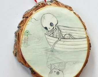 Skeleton reflection mallard duck Ornament Wooden Handmade Tree Decoration