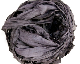 RESERVED FOR DEBORAH Recycled Silk Chiffon Sari Ribbon, Sari silk ribbon, Black Chiffon Sari ribbon