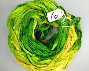Silk Sari Ribbon, Sari Ribbon, Green sari ribbon, green ribbon, Green silk Sari Ribbon, yellow sari ribbon, weaving supply, knitting supply