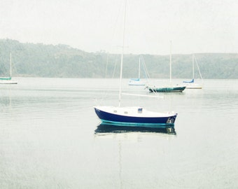 "Beach Ocean Photography Print, Sailboat Blue White Decor Boat Nautical Wall Art ""While Waiting"""