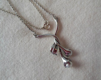 Vintage Sterling Silver and Pearl Flower Necklace