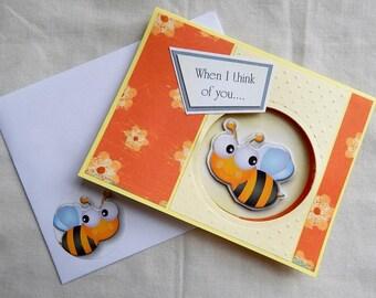 Handmade Thinking of You Card: bee, flowers, friend, male, female, orange, yellow, complete card, handmade, balsampondsdesign