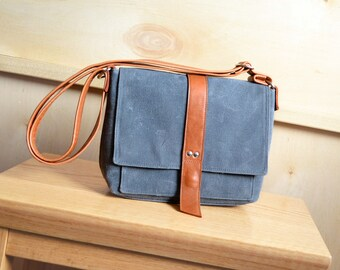 Waxed Canvas Purse, Waxed Canvas Satchel, Everyday Bag, Crossbody Canvas Bag, Waxed Canvas Handbag - The Davy Mini Messenger Bag in Stone