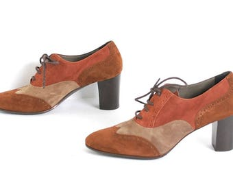 size 8 PATCHWORK suede leather 80s 90s OXFORD lace up high heel ankle boots made in ITALY