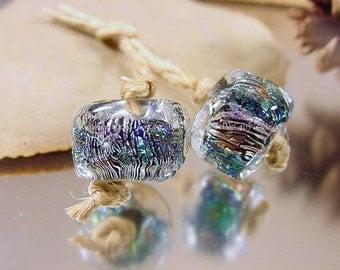 Handmade lampwork glass bead pair, Artisan glass beads, blue beads, green beads, dichroic glass beads, lampwork earring pair, SRA lampwork