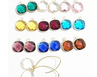DIY 9 pairs 18pcs glass faceted Square pendant with gold frame, square glass drops 16x13mm, framed glass with brass setting