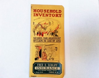 Vintage 1920s Household Inventory Ledger Insurance 20s Rough Notes