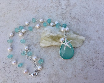 Aqua  Blue Chalcedony and Freshwater Pearl Sterling Silver  Starfish Necklace Gemstone