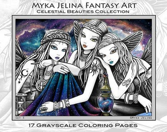 Set 3 - 17 Pages - FREE US SHIPPING - Celestial Beauties - Myka Jelina - Fantasy Art - Grayscale - Adult Coloring Pages - Star Child