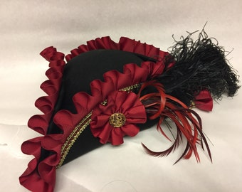 READY TO SHIP Black and Red Pirate Hat Renaissance Pirate costume hat