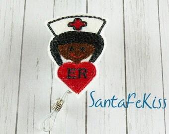 Brown ER Nurse ID Badge Holder - Embroidered Felt Badge Reel - Retractable ID Badge Holder - Badge Reel Clip - Medical Badge