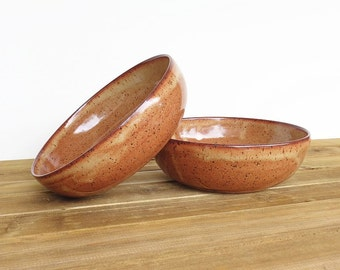 Stoneware Pasta Bowls in Shino Glaze, Rustic Ceramic Pottery Bowls, Set of 2