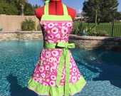 Ready to Ship - Roses Sassy Apron with Ruffle, Womens  Kitchen Apron,  Dena Designs Tiddlywinks Pink Rosebuds print