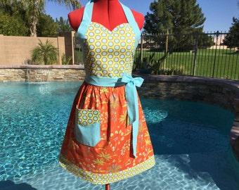Sundara Oasis Lalika Sassy Apron with Bib, Retro Style with gathered waist and towel loop, Womens Misses, Plus SIzes, Kitchen Apron