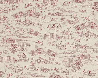 Country Days Farm Scene Toile Fabric by Red Rooster
