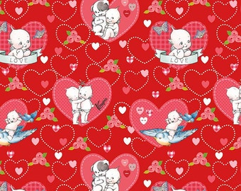 Kewpie Love- Main Red- Valentine Fabric- Quilt- Riley Blake- Penny Lane-Heart- Pink- Baby- Fabric- Sold by Full or Half Yard