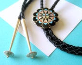 RESERVED..Zuni Sunface Mosaic Inlay Bolo Tie by Delwin Gasper