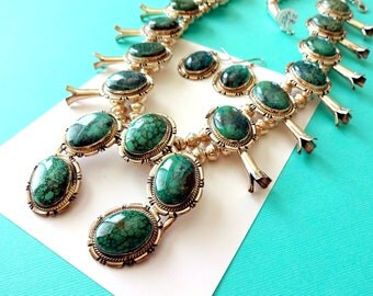 Vintage Navajo Number 8 Turquoise and Sterling Silver Squash Blossom Necklace/Earring Set