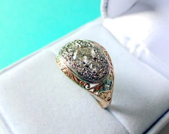 SALE..Art Deco 14kt Yellow Gold Hand Etched 0.72 Total Carat Domed Diamond Filigree Ring