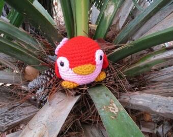 Red & Pink Plush Penguin. Amigurumi Penguin. Stuffed Animal Penguin with Flower.  Plush Crochet Penguin Toy. Kawaii Penguin Gift for Her.