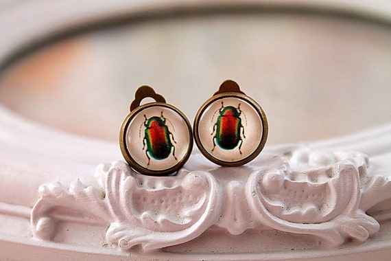 Insect bug clip earrings sweet lolita feminine  insect bug red green nature