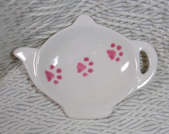 Pink Paw Prints On Ceramic Tea Bag Holder Handmade Dog or Cat Prints
