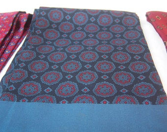 Mens Italian silk ascot / navy blue black red medallions / elegant opera scarf / hand stitched rolled edges / stunning