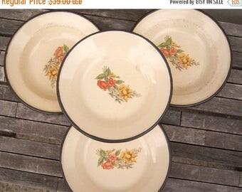 40% MOVING SALE Vintage enamel bowls / set of 4 /Yugoslavia / daffodils blue bells floral / enamelware