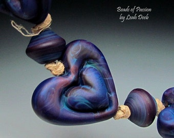 Handmade Glass Beads of Passion Heart Focal - 3 plus 4 Rich Tie Dye Incised Hearts