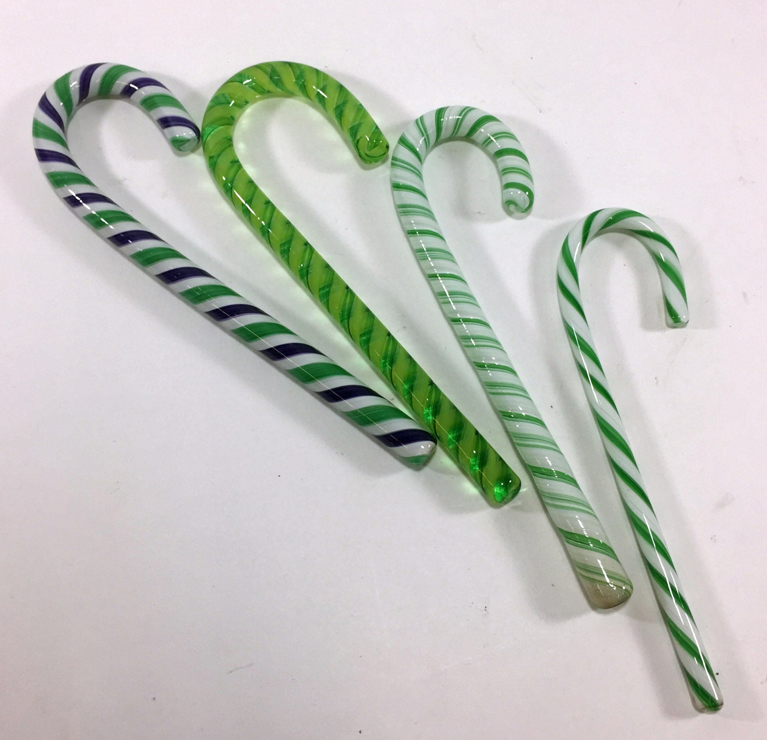 Green stripe glass candy canes handmade by thefurnaceinc