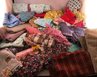 6 Pounds of Vintage  Cotton Scraps Fabric for Quilting and Crafting