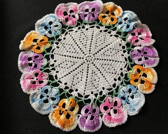 Vintage Hand Crochet White with Colorful Pansies (Pansy) Doily