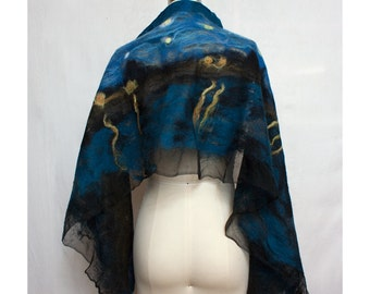 Nuno Felted Shawl Van Gogh Inspired Art To Wear