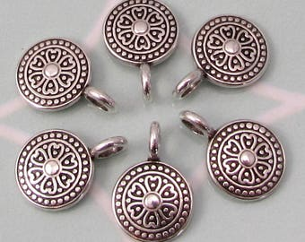 Boho Ethnic Round Charm, Antique Silver, 6 Pieces, AS446