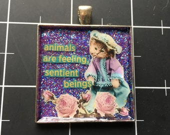 Animals are Feeling, Sentient Beings, Vintage Costumed Kitten Pendant, 50% goes to the charity of the month