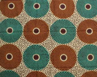 Ankara, African fabric, By the yard, Dressmaking Fabric, Circle print, 100% Cotton, Teal and Brown Circles, Geometric Print, GTP fabric
