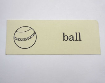 Vintage Children's Ivory School Flash Card with Word and Picture for Ball