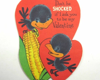 Vintage Children's Novelty Valentine Greeting Card with Cute Black Crows Birds and Ear of Corn