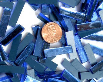 """Blue Mirror Mosaic Tile """"Blue Moon"""" Borders Hand Cut From Spectrum Silvercoat Mirrors in 2 Different Rectangle Sizes, Perfect for Mosaic Art"""