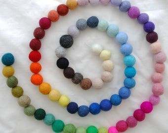 100% Wool Felt Balls - 72 Count - Assorted Colours - choose from 1.5cm, 2cm, 2.5cm, 3cm, 4cm sizes