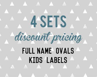 Full Name OVAL Kids Labels - 4 sets of 30 qty - Waterproof for Kids