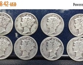 "On Sale Silver Dime Coin Mercury Dimes  1930's  1935 to 1939  90% Silver Coins Winged Liberty Head (""Mercury"") Numismatic jewelry jeweler su"