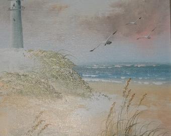Signed Oil Painting Light House, Beach, Nautical Sea Life, Sea Gull Signed, Sea Life, Beach Cottage Decor, Oil Painting