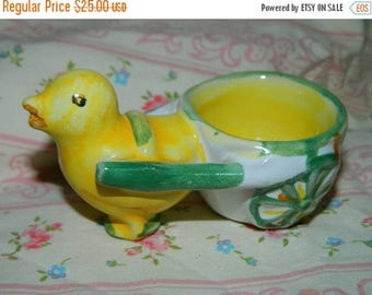 Easter Peep, Egg Holder, Candy Dish, Made in Italy, Easter Chick Egg Holder, Pulling Egg Basket, Italian Pottery, MidCentury , Holiday