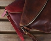 Leather Fold Over Clutch, Evening Bag, Wristlet, Purse, Distressed Brown